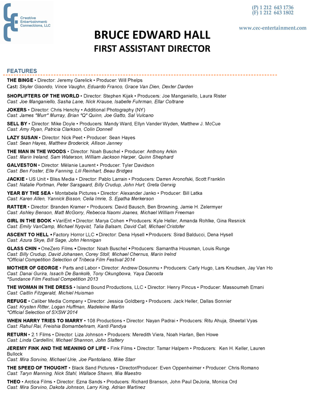 Bruce Edward Hall Resume Page 1  Assistant Director Resume